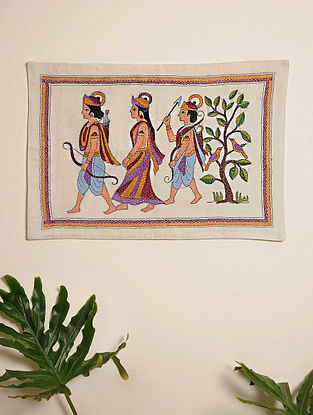 Multicolor Hand Embroidered Lord Ram And Sita Kantha Wall Hanging (L - 21.5in, W - 15in)