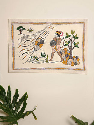 Multicolor Hand Embroidered Hanuman Kantha Wall Hanging (L - 21.5in, W - 14.5in)