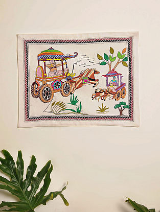 Multicolor Hand Embroidered Chariot Design Kantha Wall Hanging (L - 18.5in, W - 14.5in)
