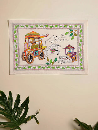Multicolor Hand Embroidered Chariot Design Kantha Wall Hanging (L - 20.5in, W - 14in)