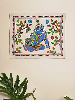 Multicolor Hand Embroidered Lord Krishna Kantha Wall Hanging (L - 17in, W - 14in)
