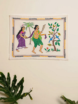 Multicolor Hand Embroidered Folk Design Kantha Wall Hanging (L - 19in, W - 14in)