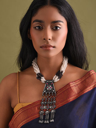 Multicolour Tribal Silver Necklace with Pearls
