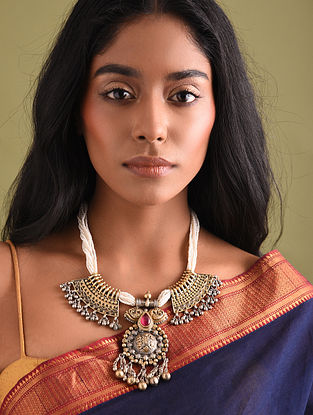 Dual Tone Tribal Silver Necklace with Pearls