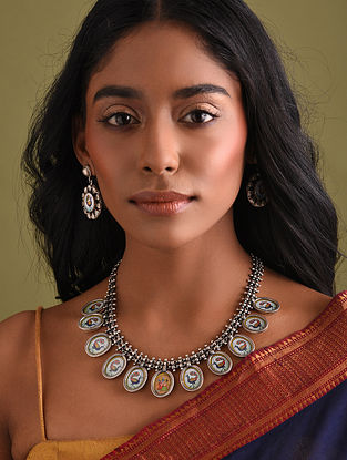 Handpainted Tribal Silver Necklace Set