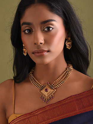 Gold Polished Silver Necklace Set with Rubies