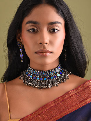 Blue Glass Tribal Silver Necklace Set