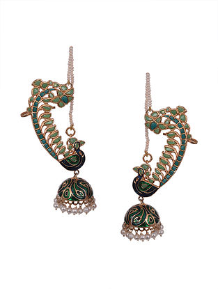 Blue Green Gold Polished Enameled Silver Earrings with Pearls