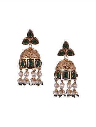 Green White Gold Polished Silver Jhumki Earrings