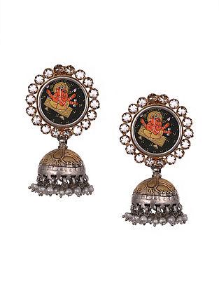 Sterling Silver Handpainted Jhumki Earrings with Pearls