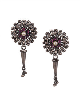 Sterling Silver Ruby Earrings with Pearls