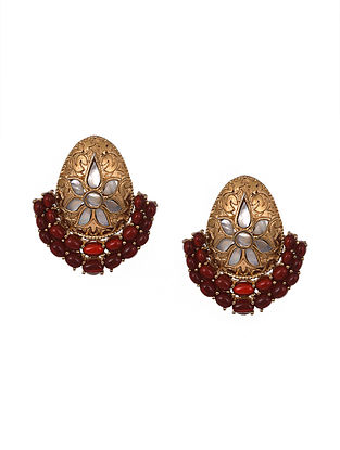 Maroon Gold Polished Sterling Silver Earrings with Rubies