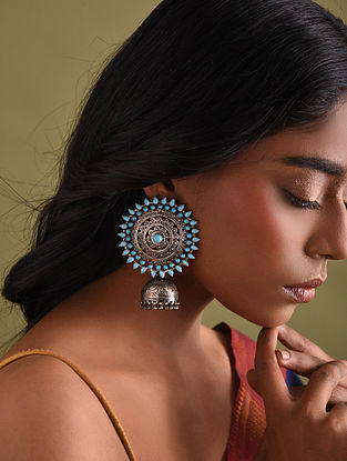 Sterling Silver Jhumki Earrings with Turquoise