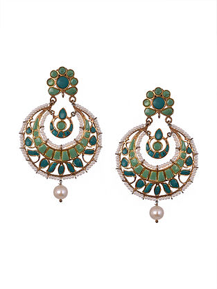 Green Gold Polished Sterling Silver Earrings with Pearls