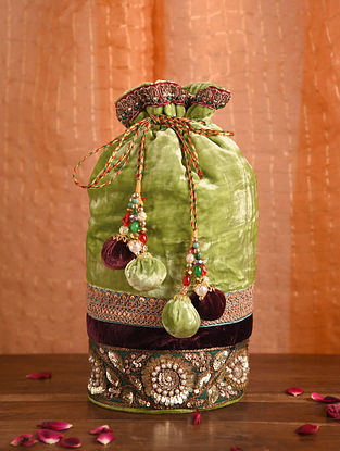 Lime Green Maroon Handcrafted Velvet Potli