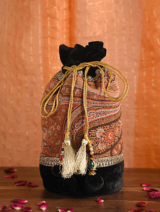 Black Orange Handcrafted Velvet Potli