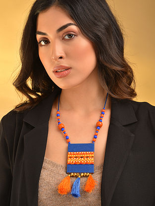 Blue Orange Handcrafted Necklace With Tassels