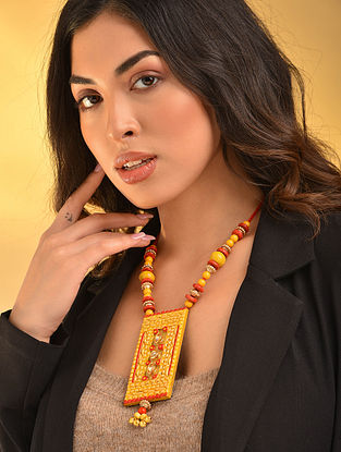 Yellow Red Handcrafted Necklace With Ghungroo