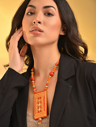 Orange Red Handcrafted Necklace