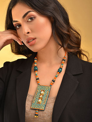 Turquoise Orange Gold Tone Handcrafted Necklace