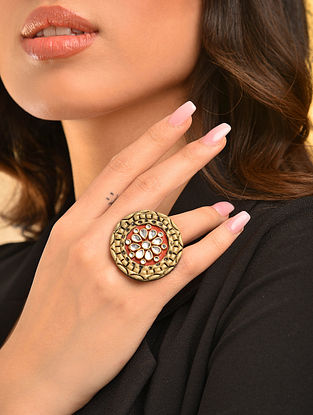 Red Gold Tone Kundan Inspired Handcrafted Adjustable Ring
