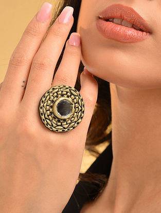 Gold Tone Handcrafted Adjustable Ring With Mirror