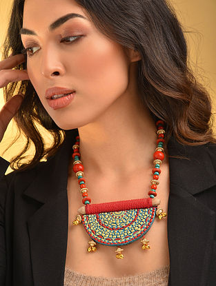 Red Turquosie Gold Tone Handcrafted Necklace With Ghungroo