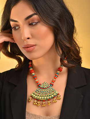 Turquoise Red Gold Tone Handcrafted Necklace With Ghungroo