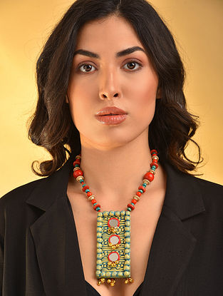 Turquoise Red Handcrafted Necklace With Mirrors