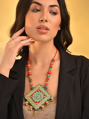 Red Turquosie Handcrafted Necklace With Ghungroo