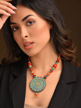 Turquoise Red Handcrafted Necklace