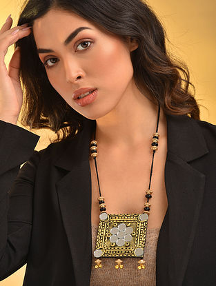 Black Gold Tone Handcrafted Necklace With Mirrors