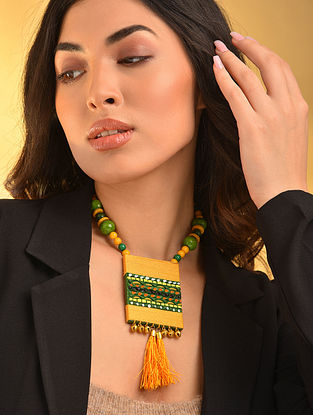 Yellow Green Handcrafted Necklace With Tassels