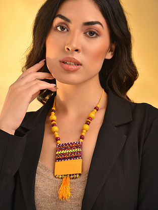 Yellow Purple Handcrafted Necklace With Tassels
