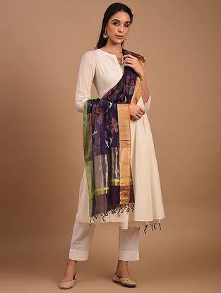 Purple Handwoven Chanderi Silk Cotton Dupatta