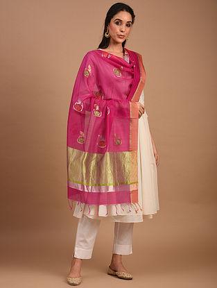 Pink Handwoven Chanderi Silk Cotton Dupatta