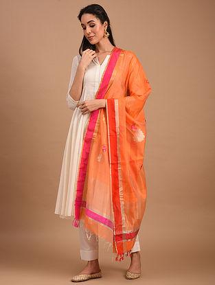 Orange Handwoven Chanderi Silk Cotton Dupatta