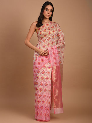 Pink Handwoven Chanderi Silk Cotton Saree