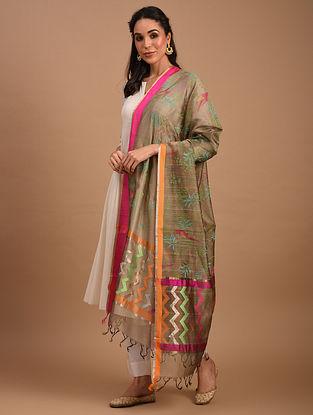 Grey Handwoven Chanderi Silk Cotton Dupatta
