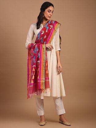 Red Handwoven Chanderi Silk Cotton Dupatta