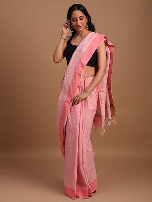 Pink Natural Dyed Handspun Handwoven  Cotton Saree