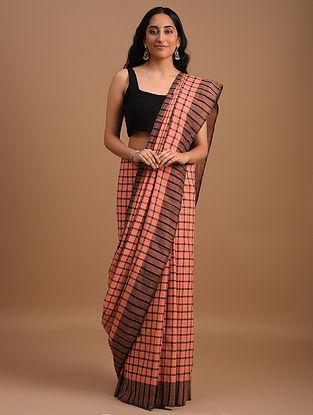 Pink check Natural Dyed Handspun Handwoven  Cotton Saree