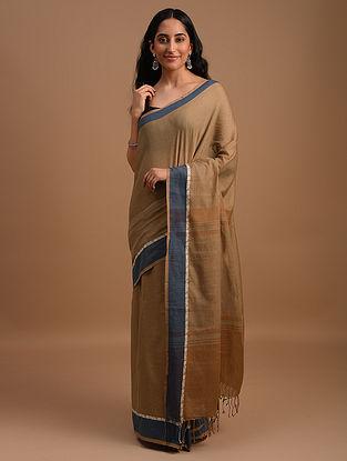 Brown Natural Dyed Handwoven Cotton Saree