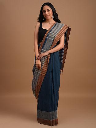 Blue Natural Dyed Handspun Handwoven  Cotton Saree