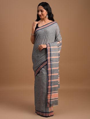 Grey Natural Dyed Handspun Handwoven  Cotton Saree