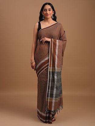Brown Natural Dyed Handspun Handwoven  Cotton Saree
