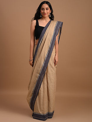 Beige Natural Dyed Handspun Handwoven  Cotton Saree