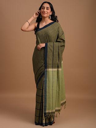 Green Natural Dyed Handspun Handwoven  Cotton Saree