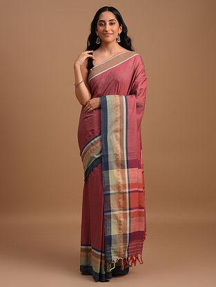 Pink Natural Dyed Handwoven Cotton Saree