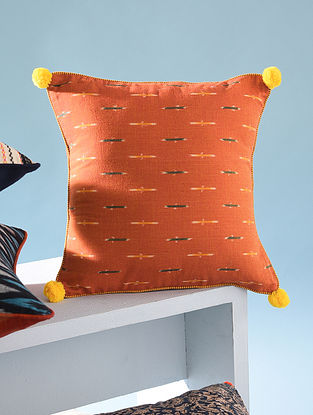 Orange and Yellow Cotton Ikkat Cushion Cover